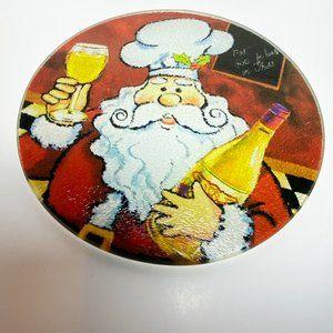 Christmas Santa Drinking Wine  Glass Hot Plate, Christmas Dining Table